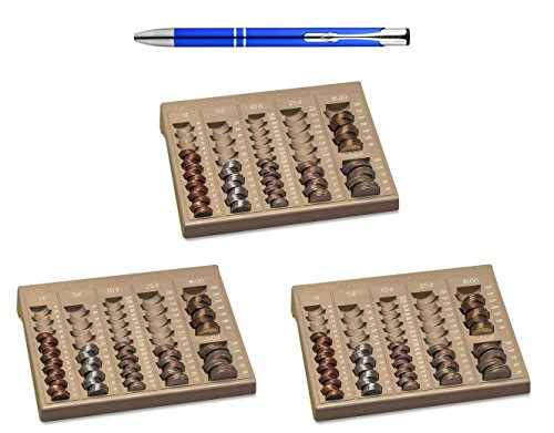 PM Company SecurIT Counter Change Tray, 9.75 x 7.625 x 1.625 Inches, Beige, 3 Pack Bundle with a Plexon Rollerball Pen