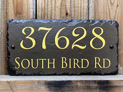 Sassy Squirrel Handcrafted and Customizable Slate Home Address Plaque (12''x6'') by Sassy Squirrel