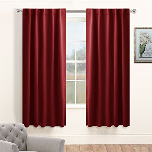 Pony Panel Door (PONY DANCE Heavy-duty Blackout Window Curtain Panels - Modern and Elegant Back Tab Rod Pocket Draperies for Home Decor/Light Blocking Energy Saving, 42 x 54 Inch, Red, One Pair)