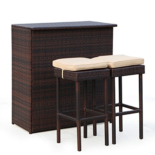 Adeco 3PC Wicker Bar Set Patio Outdoor Backyard Table & 2 Stools (Large Image)