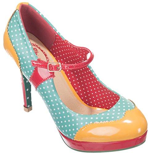 Dancing Days High Heel Pumps - Mary Jane Polka Dot Minzgrün Mehrfarbig
