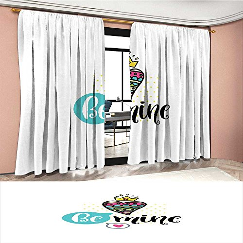 Romantic Blackout Window Curtain Colorful Patterned Heart Shape with a Crown Creative Typography Phrase Be Mine Customized Curtains Multicolor (Mine Crown Silver)