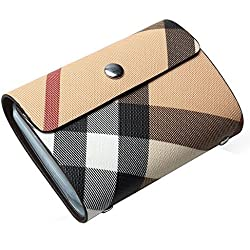 REEGE Plaid Leather Book Style Card Holder