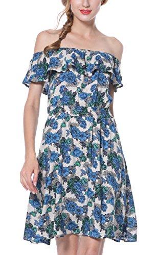 Print Layer Floral Women's Sexy Beach ARANEE Off Deak Dress Ruffle Bohemia A Blue Shoulder line qgFtnwH