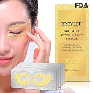 Collagen Eye Mask 24K Gold Eye Pads for Dark Circles, Puffiness Eye Treatment Pads Natural Under Eye Patches with Anti-aging and Wrinkle Care Properties , Eye Care Mask Gift for Women&Men (10 pairs)