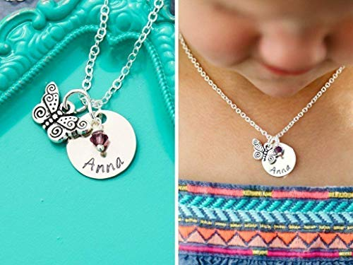 (Personalized Butterfly Necklace - DII AAA - Little Girls Jewelry - Handstamped Handmade - 5/8