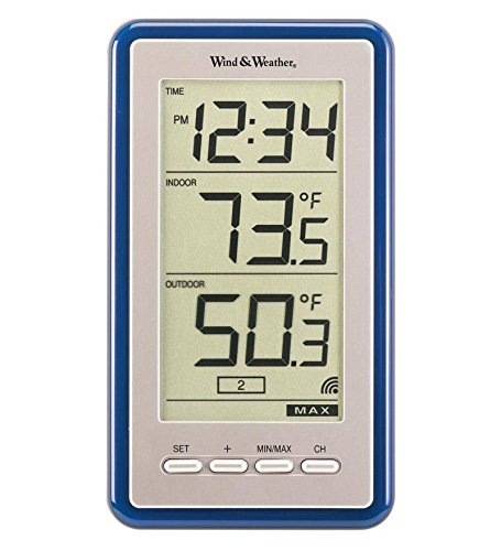 La Crosse Technology Large-Digit Indoor/Outdoor Color Spot Thermometer and Clock, in Blue
