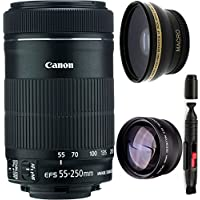 Canon 55-250mm IS STM Lens + High Definition Wide Angle Auxiliary Lens + High Definition Telephoto Auxiliary Lens + Deluxe Lens Cleaning Pen