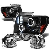Ford F150 12th Gen Black Housing Amber Corner Halo Projector Headlights + Clear Lens Fog Lights
