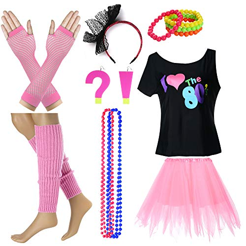 I Love The 80's T-Shirt Fancy Outfit Dress for 1980s Theme Party Supplies (M/L, Pink)