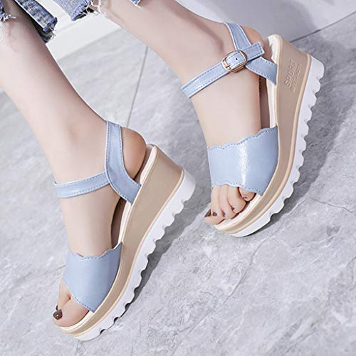 Summer Womens Casual Mid Heel Sandals Wedge Ankle Strap Shoes Buckle Strap Student Beach Shoes (Blue, Size:40=US:7.5) by Tanlo (Image #3)