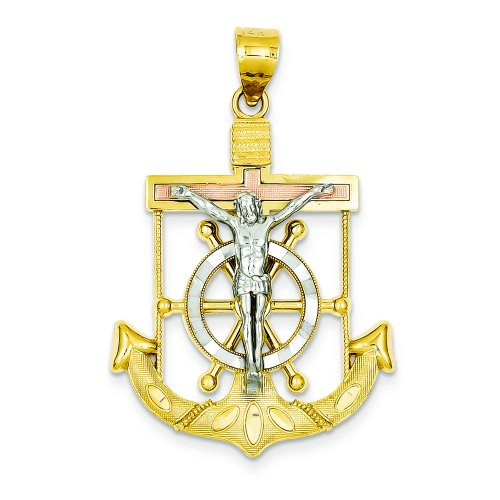 - 14K Tri Color Gold Mariners Cross Charm FindingKing
