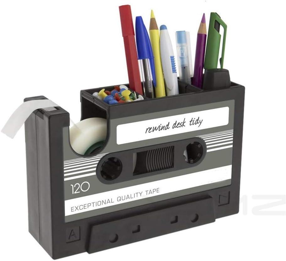 Creative Adhesive Tape Pen Holder Case, Retro Cassette Tape Dispenser Vase Brush Pot, Popular Pencil Desk Collection Tidy Organizer, Office Stationery Storage Container- Unique Gift (Gray)