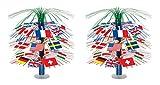 Beistle S50545AZ2 International Flag Cascade Centerpiece 2 Piece, Multicolored