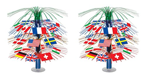 Beistle S50545AZ2 International Flag Cascade Centerpiece, 2 Piece, 18