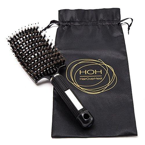 Weiche Wildschwein-borsten Haarbürste - Volumen gebende Entknotungs-bürste mit Entwirrungs-pins. Schmerzloser Haarentwirrer für lange, feine, dicke, lockige Haare