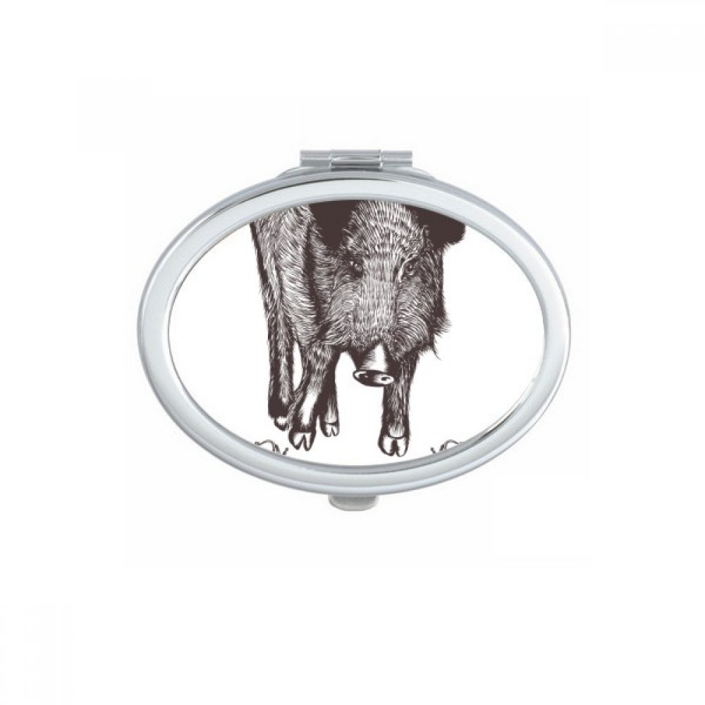 Boar Sword Crown Animal Black White Baroque Style Oval Compact Makeup Pocket Mirror Portable Cute Small Hand Mirrors Gift