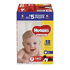 HUGGIES Snug & Dry Diapers, Size 2, 140 Count, GIGA JR Pack (Packaging May Vary)