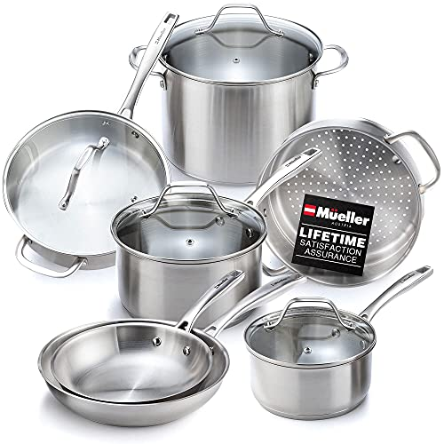 Mueller Pots and Pans Set 11-Piece, Ultra-Clad Pro Stainless Steel 11-Piece