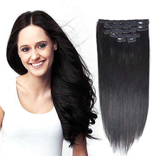 "18"" Clip in Remy Human Hair Extensions Jet Black 6pieces 70G"