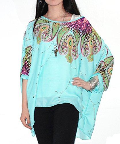 Feelme Chiffon Top05 Shirt 3 Camicie Sciolto Camicia Stampa Eleganti manica Blusa Donna con T Girocollo Maniche Camicetta 4 Camicette Magliette wt0SSqH