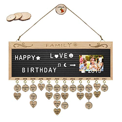 ElekFX Birthday Calendar Wall Hanging Felt Letter Board Message Sign Wall Hanging Wood Family Birthday Reminder Wall Plaque Changeable Message Board for Birthday Gift Home Bar School Decor ()