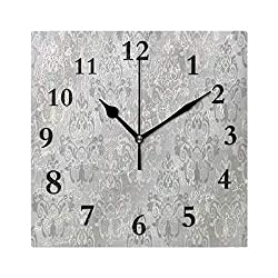 FunnyCustom European Damask Flower Square Wall Clock 7.8 Inch Hanging Clock for Living Room/Kitchen/Bedroom