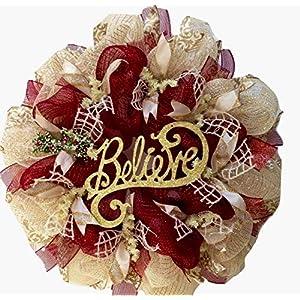 Believe Handmade Deco Mesh Holiday Wreath 15