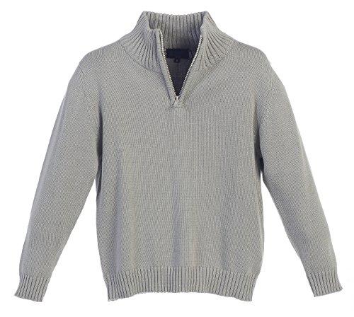 Gioberti Boy's Knitted Half Zip Long Sleeve Sweater, Gray, Size 7 by Gioberti