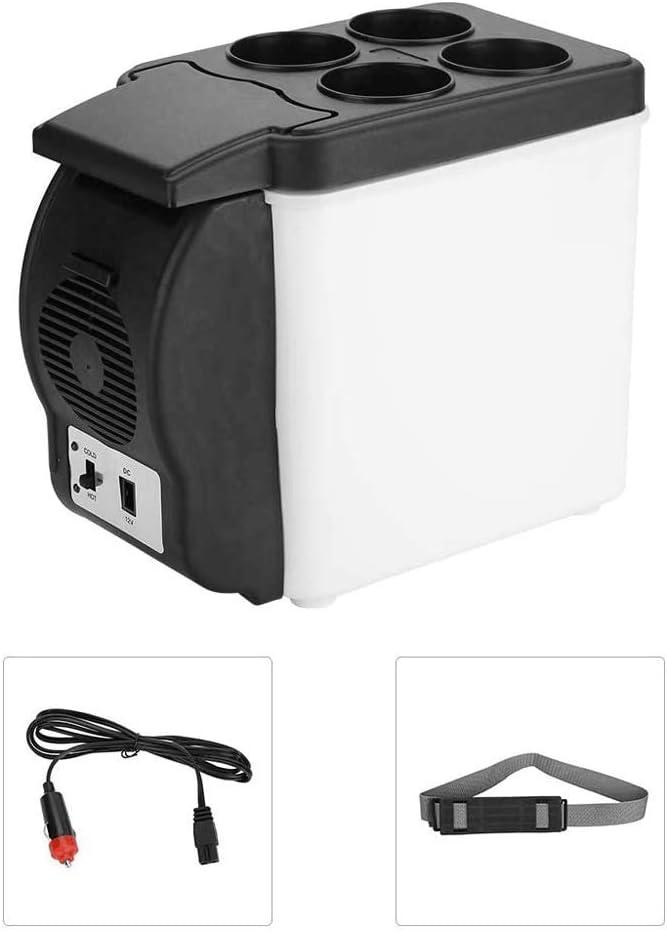 AILZNN 6L Mini Portátil Refrigerador del Coche, 12v Congelador De Coche Nevera Calentador con Base Almacenamiento Cuatro Botellas, Enfriador De Bebidas Eléctrico para Viajes De Oficina De Campamento