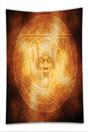Nalahome Fleece Throw Blanket Horror House Decor Demon Trap Symbol Logo Ceremony Creepy Ritual Fantasy Paranormal Design Orange by Nalahome