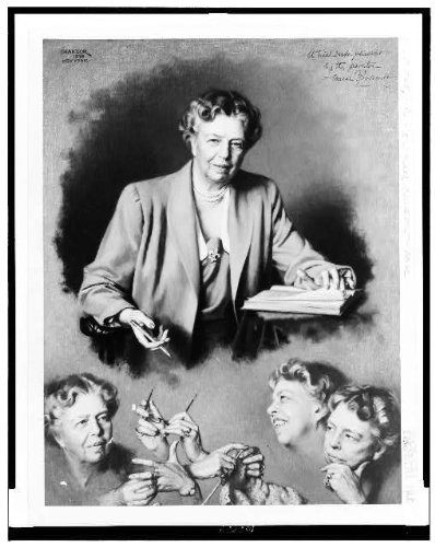 Photo: Oil painting,composite,Eleanor Roosevelt,knitting,holding - Frames Have I Need Lenses