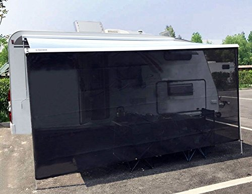 Tentproinc RV Awning Sun Shade 7'x15' Black Mesh Screen Sunblocker Complete Kits - 3 Years Limited Warranty