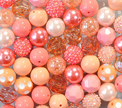 All Coral and Peach 20mm Chunky Bubblegum Beads Variety Mix 50 Pc Set