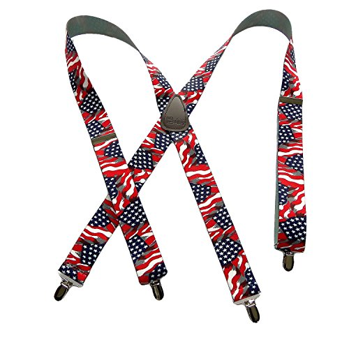 Holdup Suspender Company Classic Series USA Flag Pattern X-back Suspenders with Silver-tone No-slip Clips