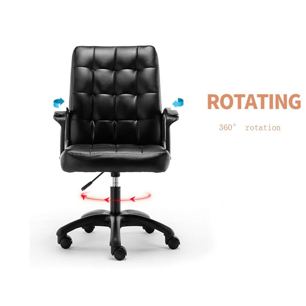 Modernt mellanstöd kontorsstol i fuskPU-läder hög justerbar svängbart säte för dator skrivbord arbetsstation möbler Brun Svart