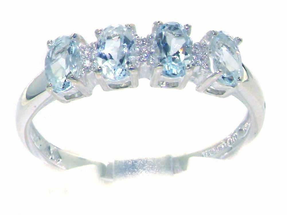 LetsBuyGold 10k White Gold Real Genuine Aquamarine & Diamond Womens Modern Promise Ring (0.03 cttw, H-I Color, I2-I3 Clarity) - Size 9 by LetsBuyGold