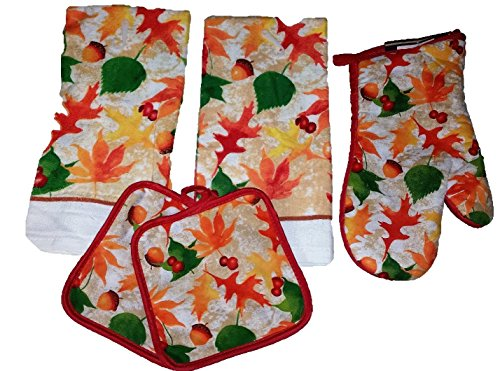 Kitchen-Towel-Set-Bundle-of-5-Includes-2-Dish-Towels-1-Oven-Mit-2-Pot-Holders-Autumn-Thanksgiving-Fall-Harvest