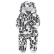 Carters Baby Girls Fleece Hooded Romper Jumpsuit, Black Aztec, 6 Months