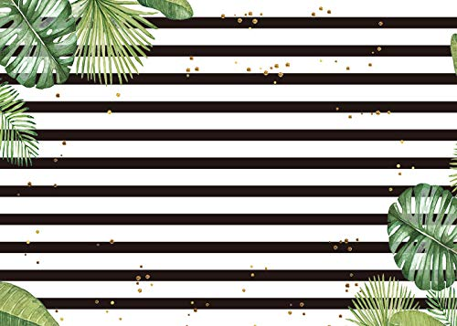 Palm Tree Sequin Photography Backdrops Black and White Stripe Green Leaf Glitter Birthday Party Photo Studio Background 7X5FT -