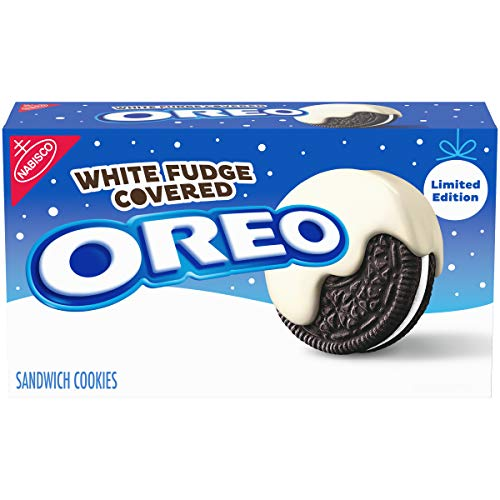 Oreo White Fudge Covered Chocolate Sandwich Cookies, Limited Edition, 8.5 Ounce (Pack of 4) (Oreo Cookie Christmas Balls)