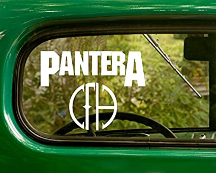 2 pantera decal rock band stickers white die cut for window car jeep 4x4 truck laptop
