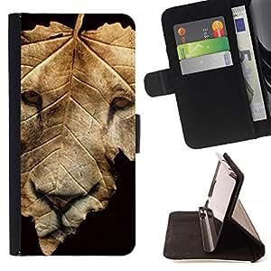 Momo Phone Case / Flip Funda de Cuero Case Cover - León de la caída del otoño Negro abstracto - Sony Xperia Z1 L39