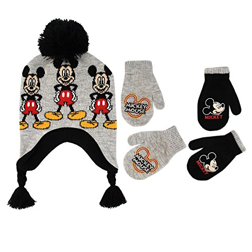 Disney Little Boys Mickey Mouse Hat and 2 Pair Gloves or Mittens Cold Weather Accessory Set, Ages 2-7 (Toddler Boys Age 2-4 Hat & 2 Pair Mittens Set, Grey)