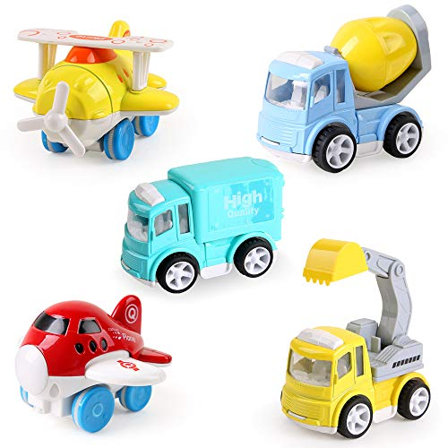 Beebeerun 5 Pieces Pull Back Car Toys for Toddlers,Fun Gift Baby Cartoon Car Airplane Toys,Friction Powered Diecast City Traffic Car Toys for 1 2 3 Years Old Boys and Girls ()