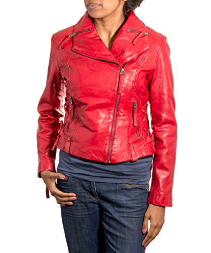 Avec De Fermeture Moto ˆ Pour Et Mince Veste Latžrale Rouge Dames Col Style Glissire En H0a8dqdw