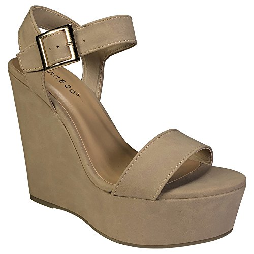 BAMBOO Women's Single Band Wedge Platform Sandal with Quarter Strap, Natural Nubuck PU, 10.0 B US