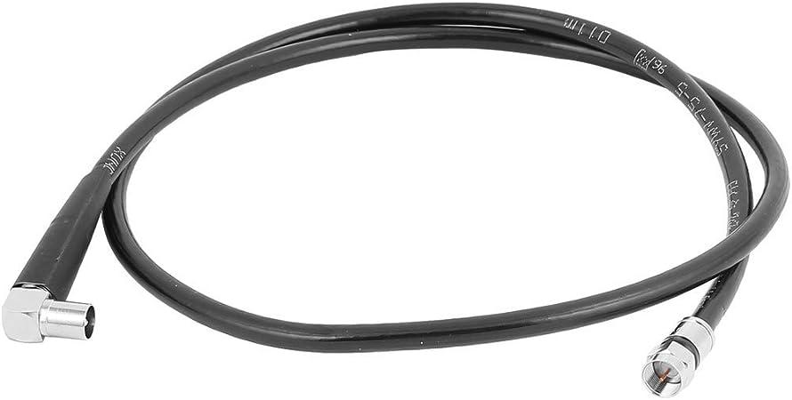 Sourcingmap® Conector 3.3 ft Cable coaxial HD satélite TV Antena Cable métrico F ángulo Recto RF Conector