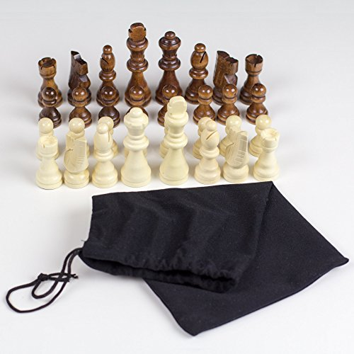 GrowUpSmart Staunton Style Chess Pieces Set Made Of Wood In Velvet Bag - For Replacement Of Missing Pieces Or If You Only Have A Chess Board