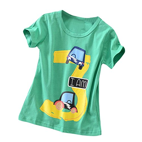 - Winsummer I'm 1 2 3 4 5 Cartoon Car Little Boys Funny Short Sleeve T Shirt Toddler/Infant Kids Casual T-Shirt (Green, 5T)